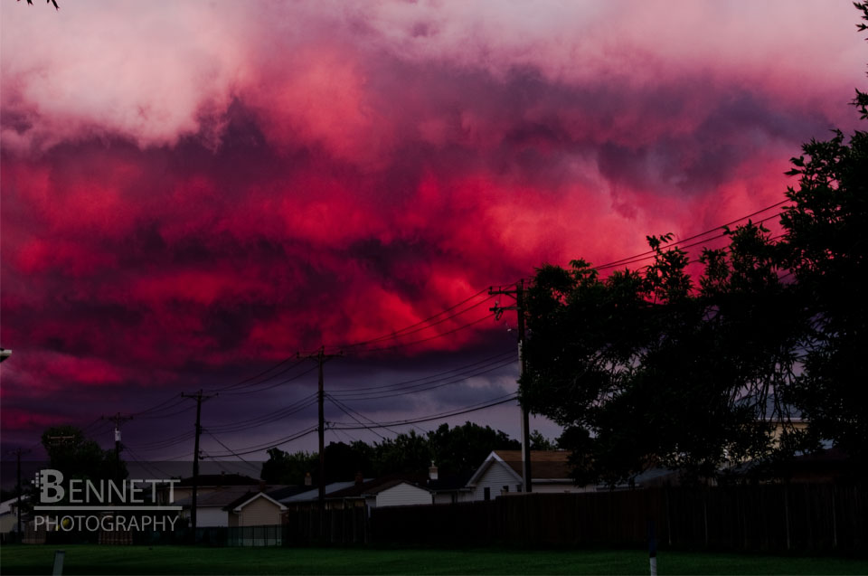 This photograph was created facing Due East, this awesome red color enveloped the entire sky!